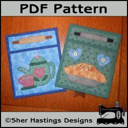 PDF Pattern for Fabric Pocket Organizers - Pie & Teapot Quilted Wall Hanging, Tutorial, DIY