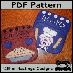 PDF Pattern for Felt Pocket Organizers - Pig & Pie Coupon / Recipe Holder, Tutorial, DIY