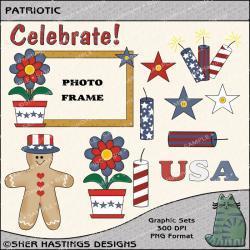 Patriotic Graphic and Clipart Set - Digital Scrapbooking Kit