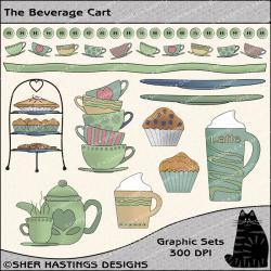 The Beverage Cart Graphic and Clipart Set - Digital Scrapbooking Kit